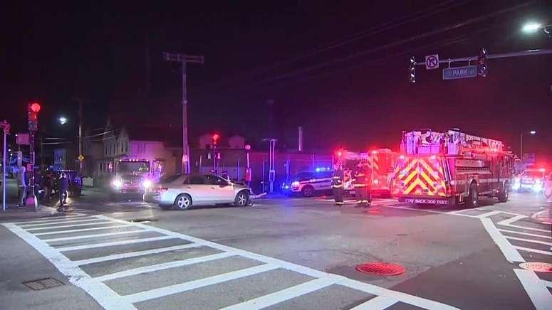 Police investigating 4-car crash in Boston