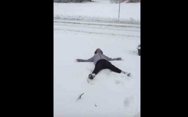 Irish woman in Boston attempts snow angel – what could go wrong?