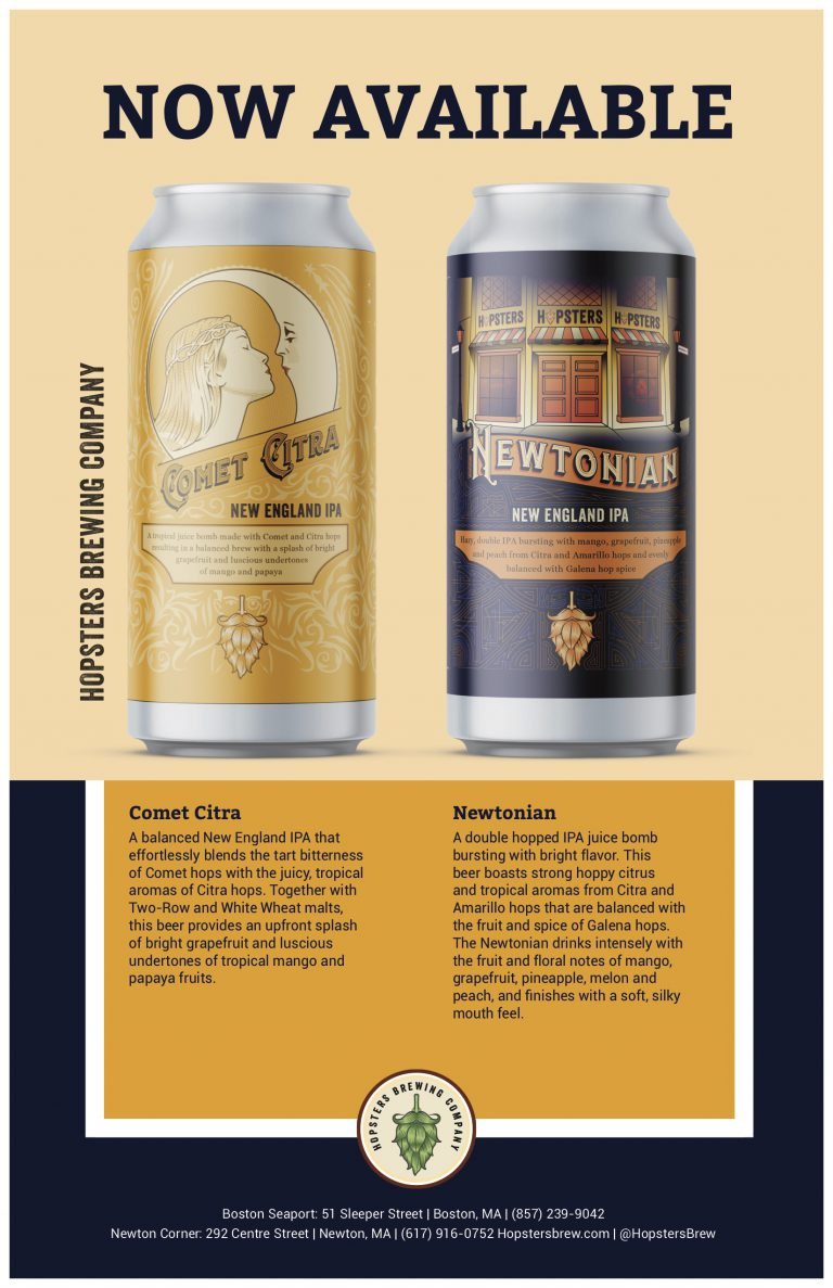 Hopsters Newtonian, Comet Citra Available in 150 Massachusetts Stores