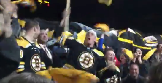Rob Gronkowski goes nuts swinging Bruins flag at game (Video)