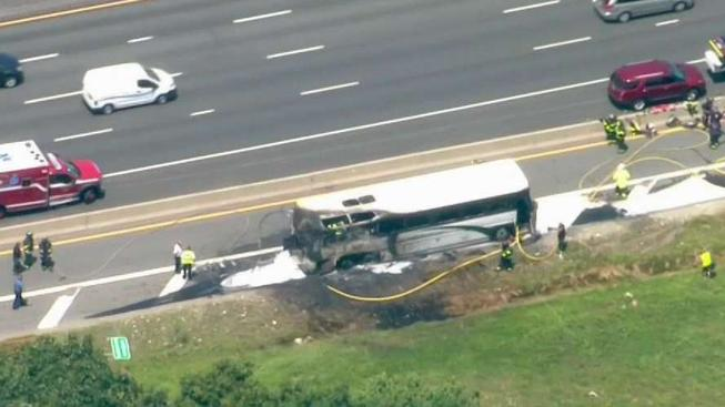 Coach Bus Bursts Into Flames on Route 128, Students Evacuated