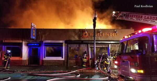 Fire destroys iconic Revere bagel shop, the Bagel Bin and Deli
